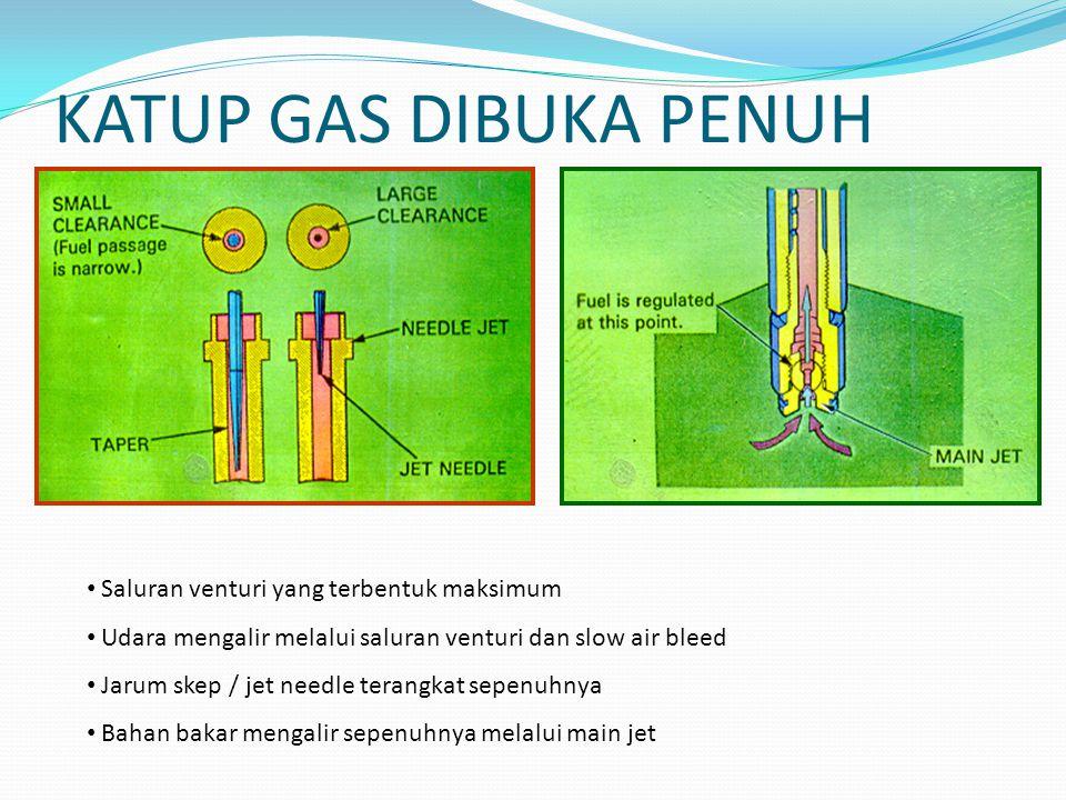 KATUP GAS DIBUKA PENUH Saluran venturi yang terbentuk maksimum Udara mengalir melalui saluran venturi dan slow air bleed Jarum skep / jet needle terangkat sepenuhnya Bahan bakar mengalir sepenuhnya melalui main jet