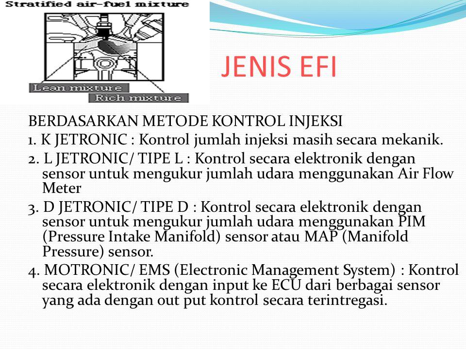 JENIS EFI BERDASARKAN METODE KONTROL INJEKSI 1. K JETRONIC : Kontrol jumlah injeksi masih secara mekanik. 2. L JETRONIC/ TIPE L : Kontrol secara elekt