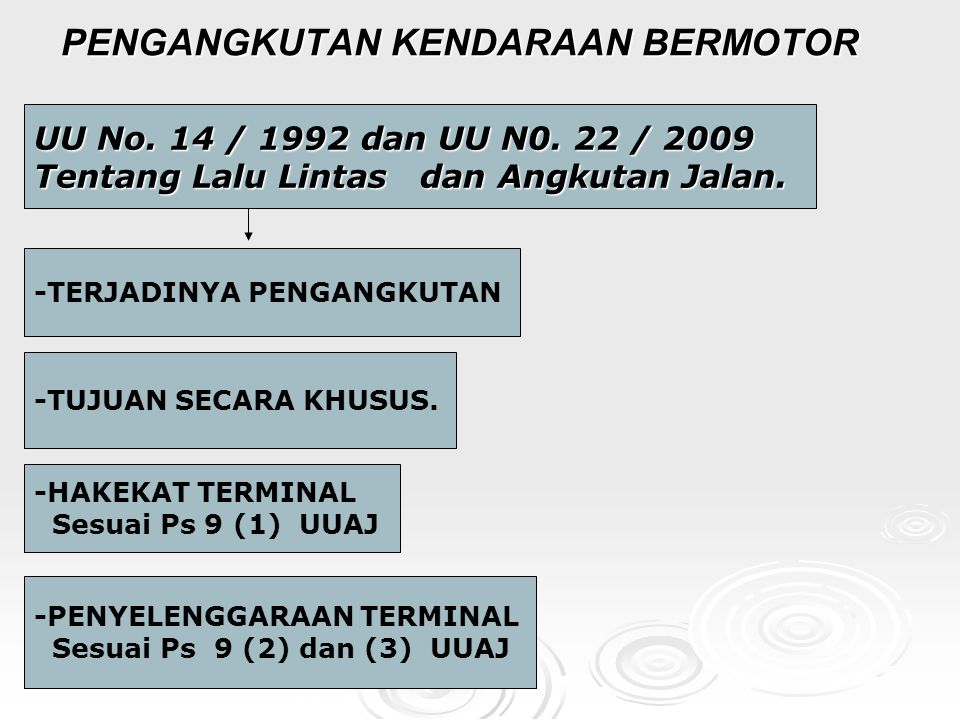 PENGANGKUTAN KENDARAAN BERMOTOR UU No.14 / 1992 dan UU N0.