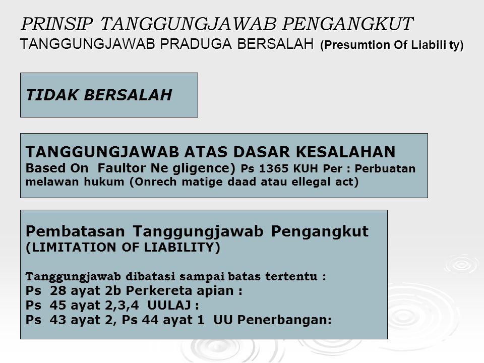 PRINSIP TANGGUNGJAWAB PENGANGKUT TANGGUNGJAWAB PRADUGA BERSALAH (Presumtion Of Liabili ty) TIDAK BERSALAH TANGGUNGJAWAB ATAS DASAR KESALAHAN Based On Faultor Ne gligence) Ps 1365 KUH Per : Perbuatan melawan hukum (Onrech matige daad atau ellegal act) Pembatasan Tanggungjawab Pengangkut (LIMITATION OF LIABILITY) Tanggungjawab dibatasi sampai batas tertentu : Ps 28 ayat 2b Perkereta apian : Ps 45 ayat 2,3,4 UULAJ : Ps 43 ayat 2, Ps 44 ayat 1 UU Penerbangan: