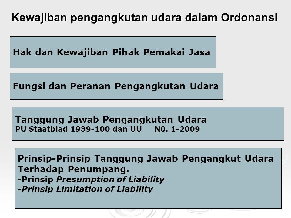 Kewajiban pengangkutan udara dalam Ordonansi Hak dan Kewajiban Pihak Pemakai Jasa Fungsi dan Peranan Pengangkutan Udara Tanggung Jawab Pengangkutan Udara PU Staatblad 1939-100 dan UU N0.