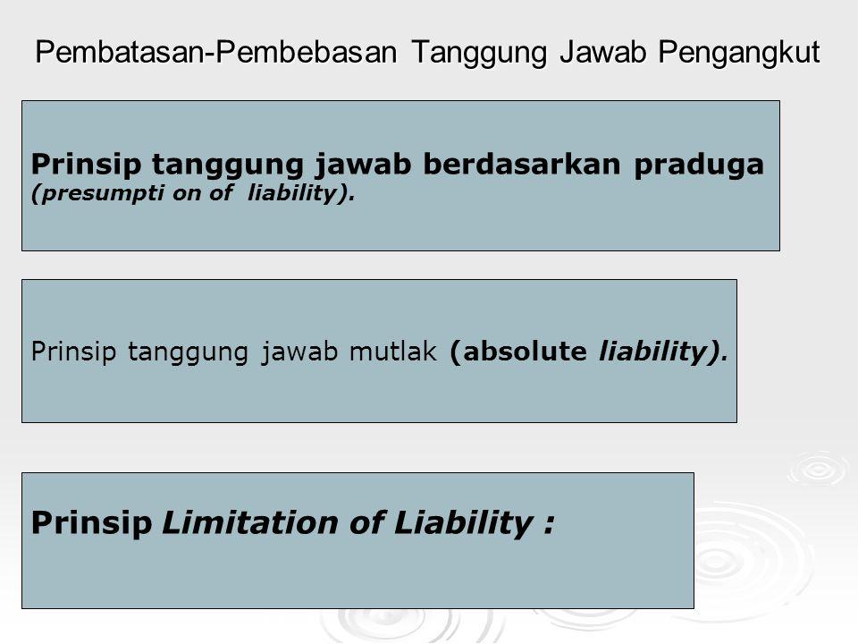 Pembatasan-Pembebasan Tanggung Jawab Pengangkut Prinsip tanggung jawab berdasarkan praduga (presumpti on of liability).