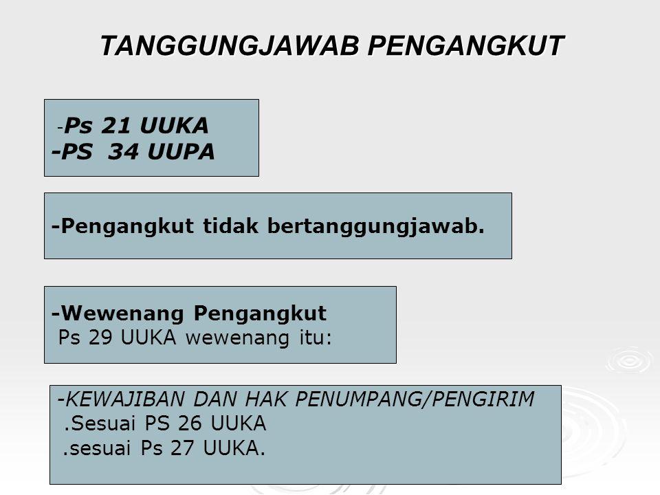 TANGGUNGJAWAB PENGANGKUT - Ps 21 UUKA -PS 34 UUPA -Pengangkut tidak bertanggungjawab.