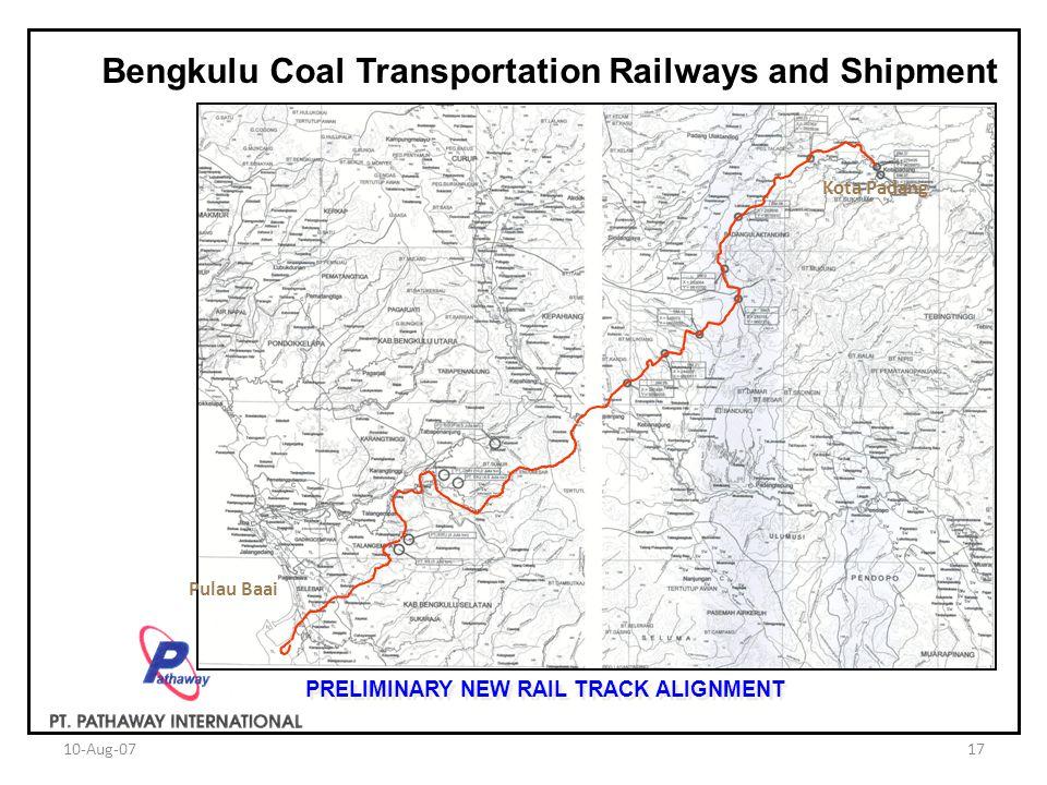10-Aug-0717 Bengkulu Coal Transportation Railways and Shipment Kota Padang Pulau Baai PRELIMINARY NEW RAIL TRACK ALIGNMENT