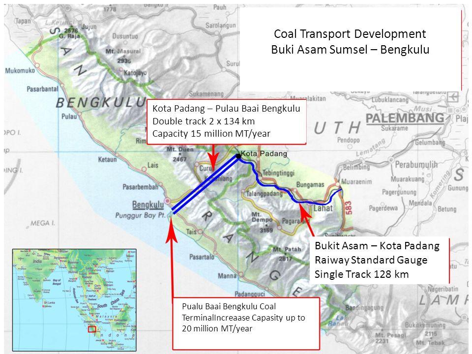 10-Aug-076 Kota Padang – Pulau Baai Bengkulu Double track 2 x 134 km Capacity 15 million MT/year Bukit Asam – Kota Padang Raiway Standard Gauge Single