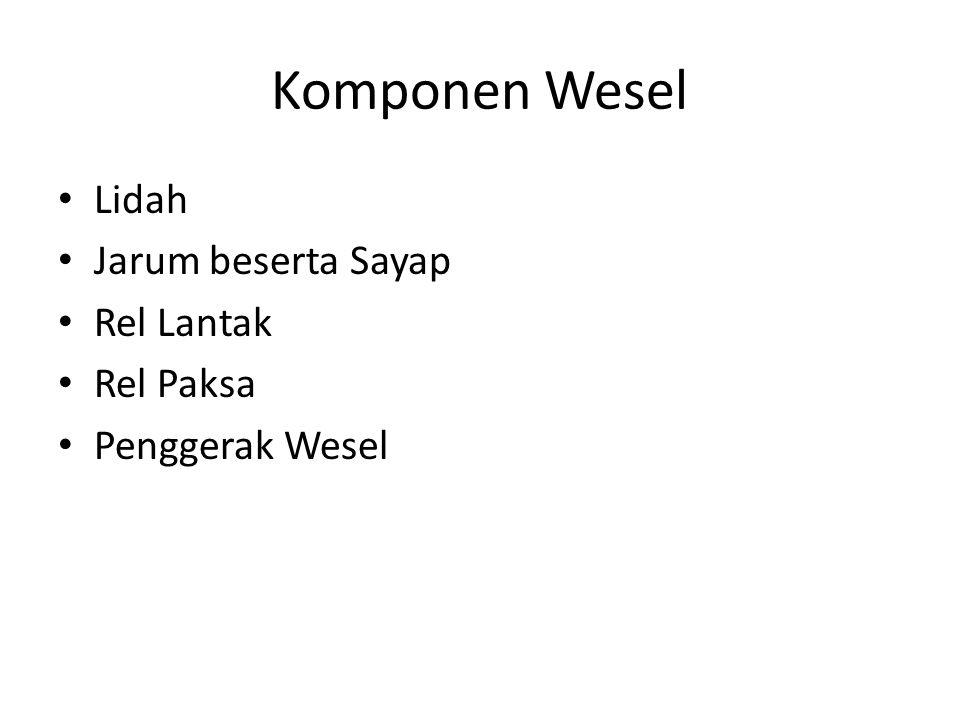 Komponen Wesel Lidah Jarum beserta Sayap Rel Lantak Rel Paksa Penggerak Wesel