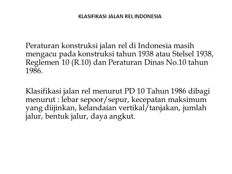 Peraturan konstruksi jalan rel di Indonesia masih mengacu pada konstruksi tahun 1938 atau Stelsel 1938, Reglemen 10 (R.10) dan Peraturan Dinas No.10 t
