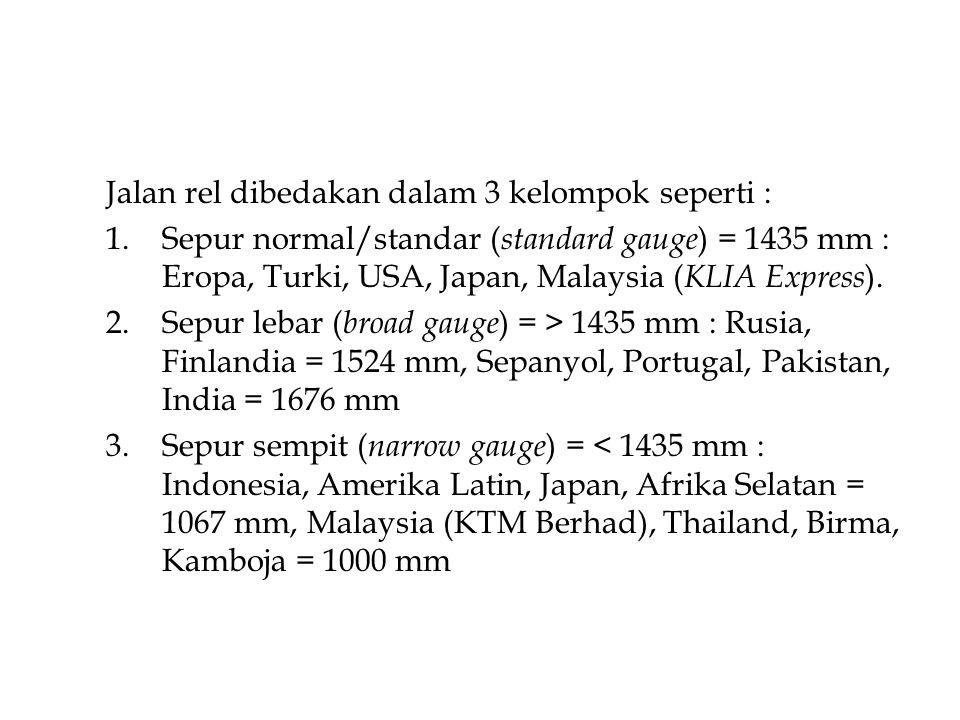 Jalan rel dibedakan dalam 3 kelompok seperti : 1.Sepur normal/standar ( standard gauge ) = 1435 mm : Eropa, Turki, USA, Japan, Malaysia ( KLIA Express