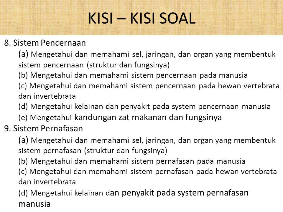 KISI – KISI SOAL 8.