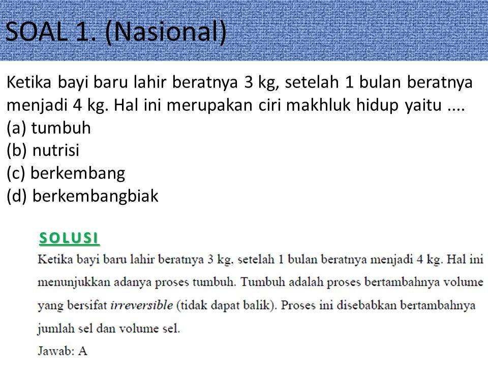 SOAL 1.(Nasional) Ketika bayi baru lahir beratnya 3 kg, setelah 1 bulan beratnya menjadi 4 kg.