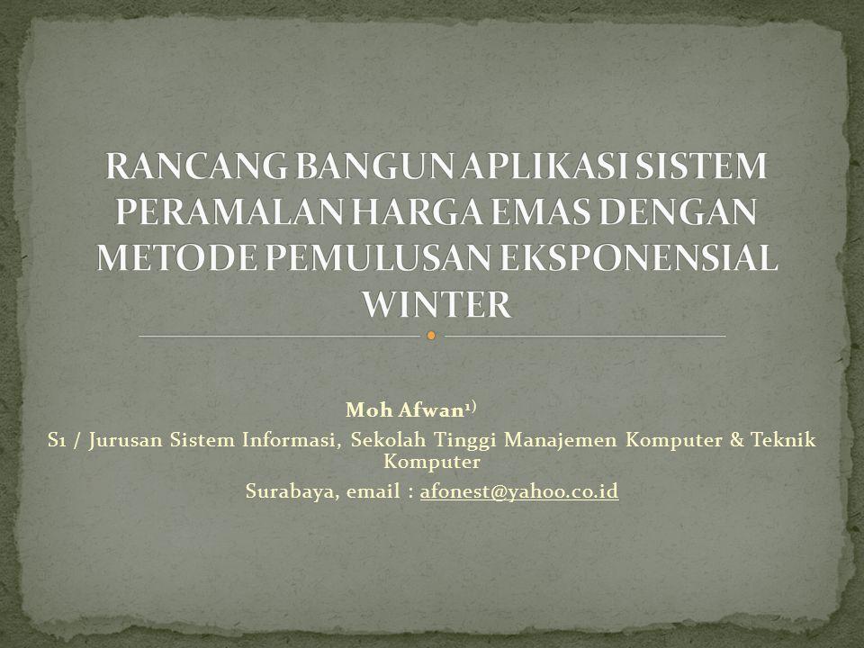 Moh Afwan 1) S1 / Jurusan Sistem Informasi, Sekolah Tinggi Manajemen Komputer & Teknik Komputer Surabaya, email : afonest@yahoo.co.id