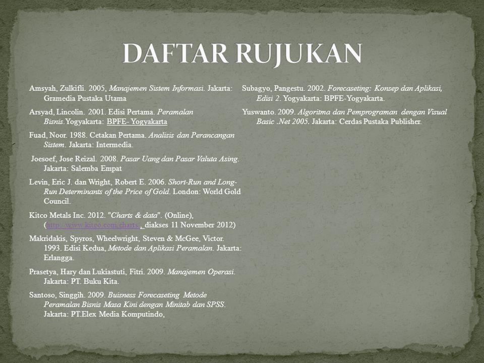 Amsyah, Zulkifli. 2005, Manajemen Sistem Informasi. Jakarta: Gramedia Pustaka Utama Arsyad, Lincolin. 2001. Edisi Pertama. Peramalan Bisnis.Yogyakarta