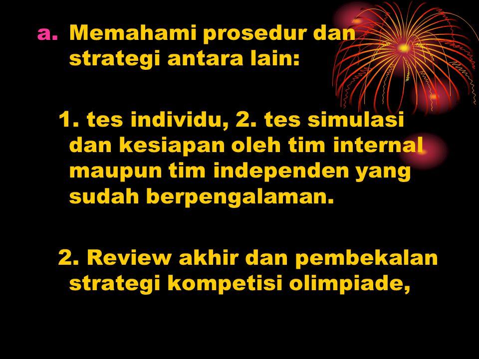 a.Memahami prosedur dan strategi antara lain: 1. tes individu, 2. tes simulasi dan kesiapan oleh tim internal maupun tim independen yang sudah berpeng