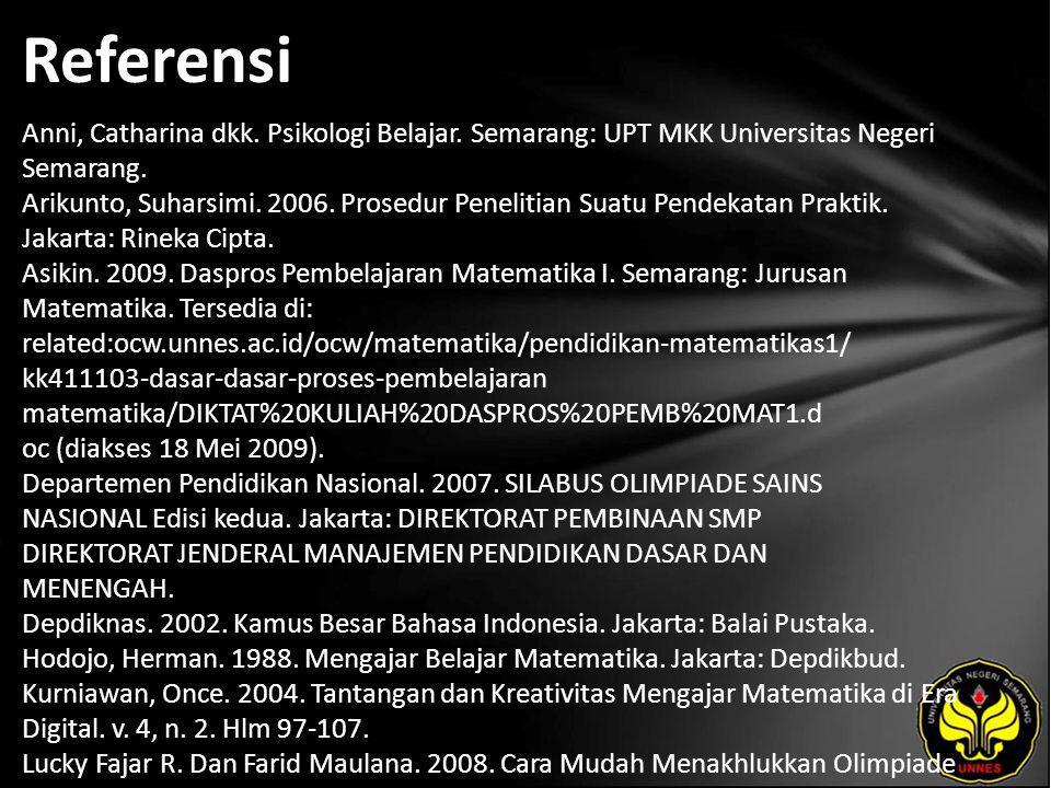 Referensi Anni, Catharina dkk. Psikologi Belajar. Semarang: UPT MKK Universitas Negeri Semarang. Arikunto, Suharsimi. 2006. Prosedur Penelitian Suatu