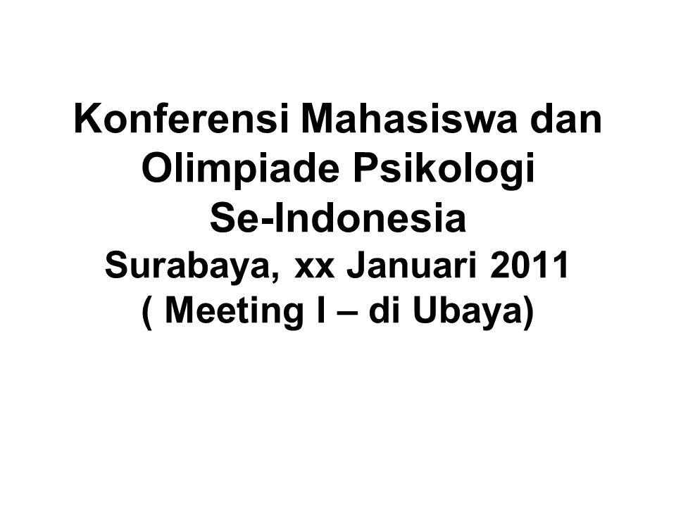 Konferensi Mahasiswa dan Olimpiade Psikologi Se-Indonesia Surabaya, xx Januari 2011 ( Meeting I – di Ubaya)