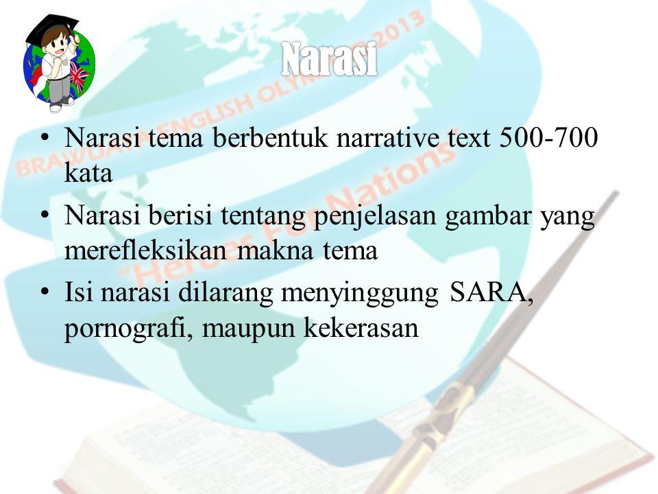 Narasi tema berbentuk narrative text 500-700 kata Narasi berisi tentang penjelasan gambar yang merefleksikan makna tema Isi narasi dilarang menyinggun