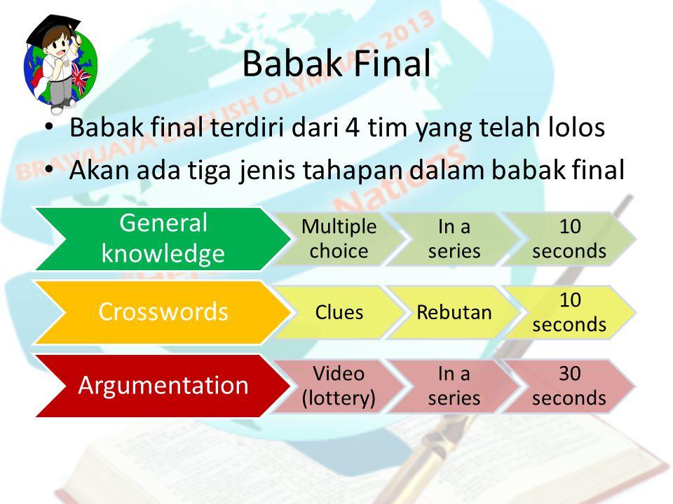 Babak Final Babak final terdiri dari 4 tim yang telah lolos Akan ada tiga jenis tahapan dalam babak final General knowledge Multiple choice In a serie