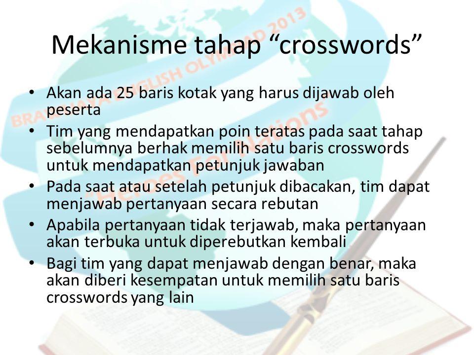 """Mekanisme tahap """"crosswords"""" Akan ada 25 baris kotak yang harus dijawab oleh peserta Tim yang mendapatkan poin teratas pada saat tahap sebelumnya berh"""