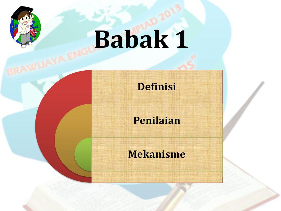 Definisi Babak 1 merupakan seleksi tertulis berupa pilihan ganda dalam Bahasa Inggris yang mengasah pada tiga skill yakni Listening, Structure, dan Reading.