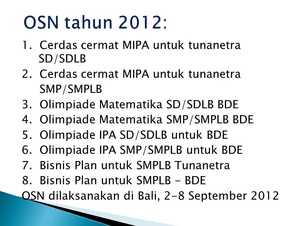 1. Cerdas cermat MIPA untuk tunanetra SD/SDLB 2. Cerdas cermat MIPA untuk tunanetra SMP/SMPLB 3.