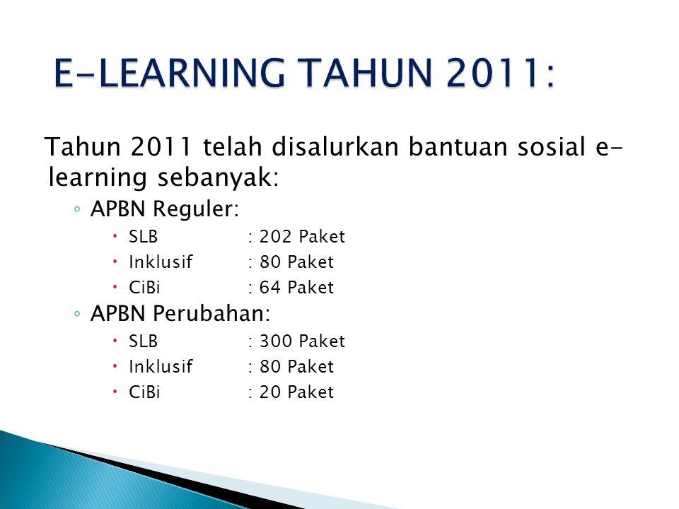 Tahun 2011 telah disalurkan bantuan sosial e- learning sebanyak: ◦ APBN Reguler:  SLB: 202 Paket  Inklusif: 80 Paket  CiBi: 64 Paket ◦ APBN Perubahan:  SLB: 300 Paket  Inklusif: 80 Paket  CiBi: 20 Paket