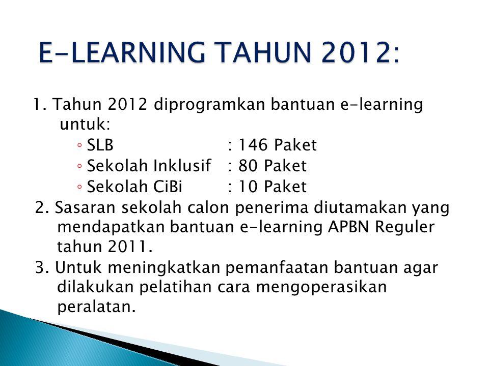 1. Tahun 2012 diprogramkan bantuan e-learning untuk: ◦ SLB: 146 Paket ◦ Sekolah Inklusif: 80 Paket ◦ Sekolah CiBi: 10 Paket 2. Sasaran sekolah calon p
