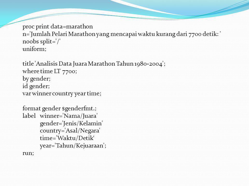 proc print data=marathon n='Jumlah Pelari Marathon yang mencapai waktu kurang dari 7700 detik: ' noobs split='/' uniform; title 'Analisis Data Juara M