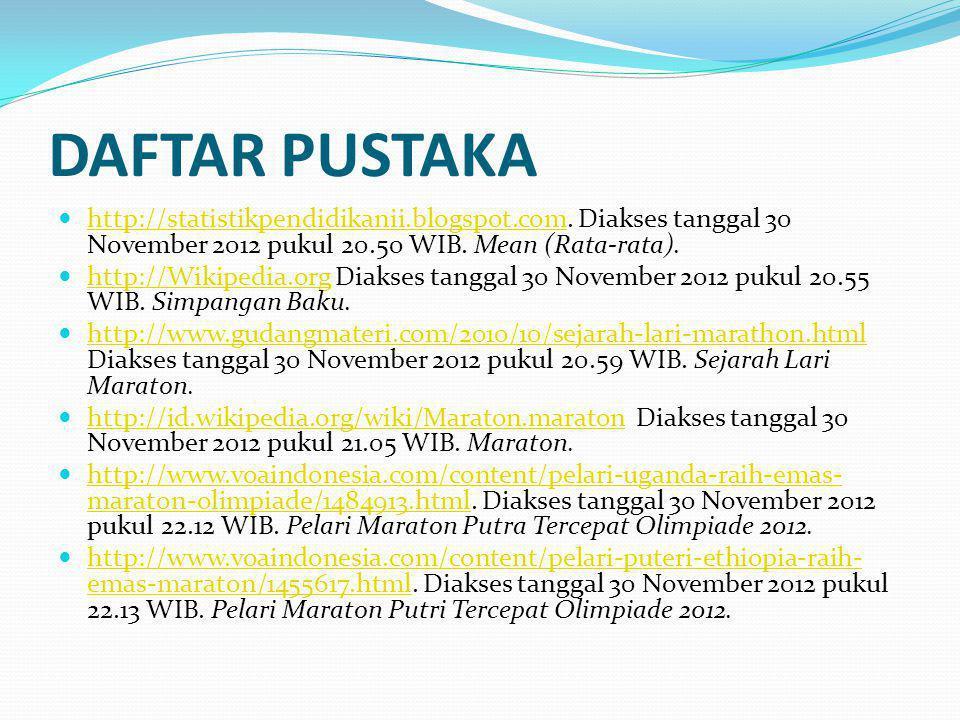 DAFTAR PUSTAKA http://statistikpendidikanii.blogspot.com. Diakses tanggal 30 November 2012 pukul 20.50 WIB. Mean (Rata-rata). http://statistikpendidik