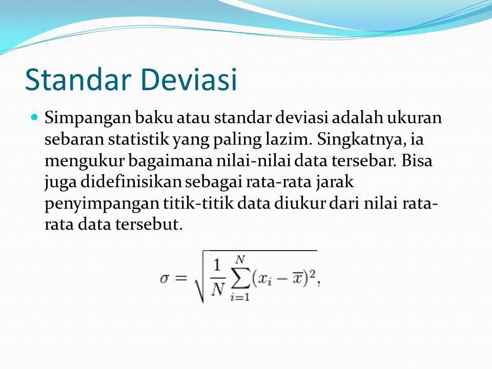 Standar Deviasi Simpangan baku atau standar deviasi adalah ukuran sebaran statistik yang paling lazim. Singkatnya, ia mengukur bagaimana nilai-nilai d