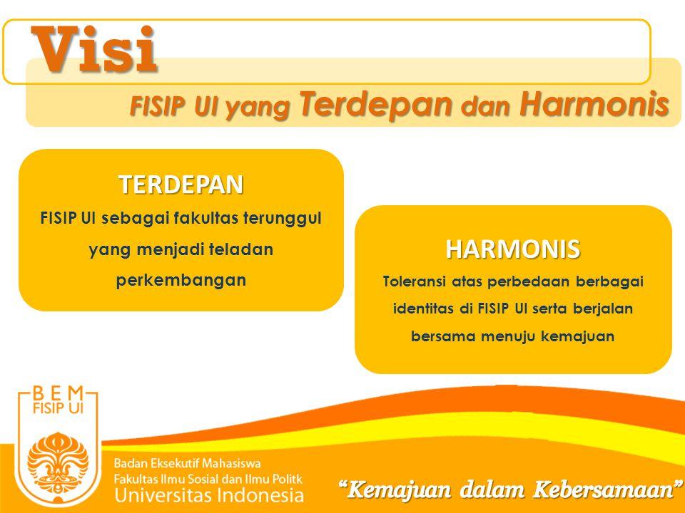 Visi Misi TERDEPAN FISIP UI sebagai fakultas terunggul yang menjadi teladan perkembangan HARMONIS Toleransi atas perbedaan berbagai identitas di FISIP