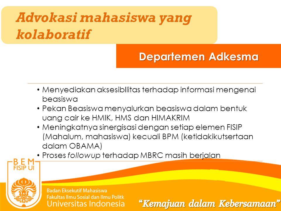 Advokasi mahasiswa yang kolaboratif Departemen Adkesma Menyediakan aksesibIlitas terhadap informasi mengenai beasiswa Pekan Beasiswa menyalurkan beasi