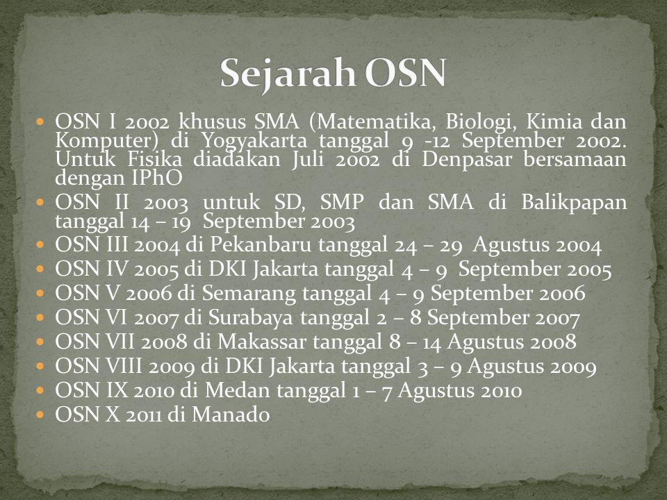 OSN I 2002 khusus SMA (Matematika, Biologi, Kimia dan Komputer) di Yogyakarta tanggal 9 -12 September 2002. Untuk Fisika diadakan Juli 2002 di Denpasa