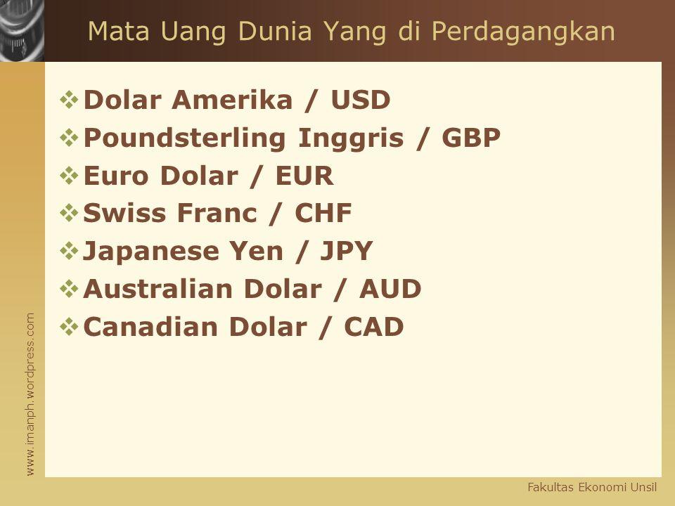 www.imanph.wordpress.com Fakultas Ekonomi Unsil Mata Uang Dunia Yang di Perdagangkan  Dolar Amerika / USD  Poundsterling Inggris / GBP  Euro Dolar