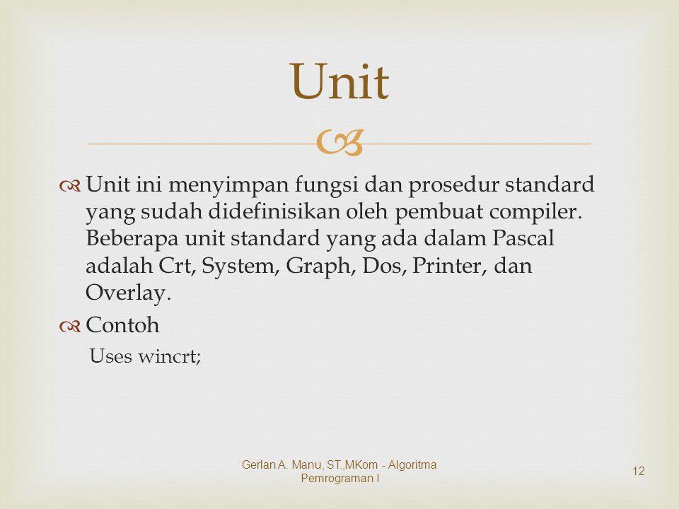   Unit ini menyimpan fungsi dan prosedur standard yang sudah didefinisikan oleh pembuat compiler. Beberapa unit standard yang ada dalam Pascal adala