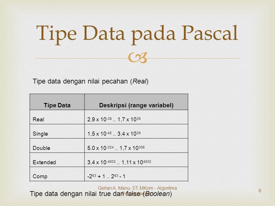   Subrange  suatu range yang menunjukkan nilai terkecil dan nilai terbesar yang dapat dipergunakan  Type pengenal = konstanta1..