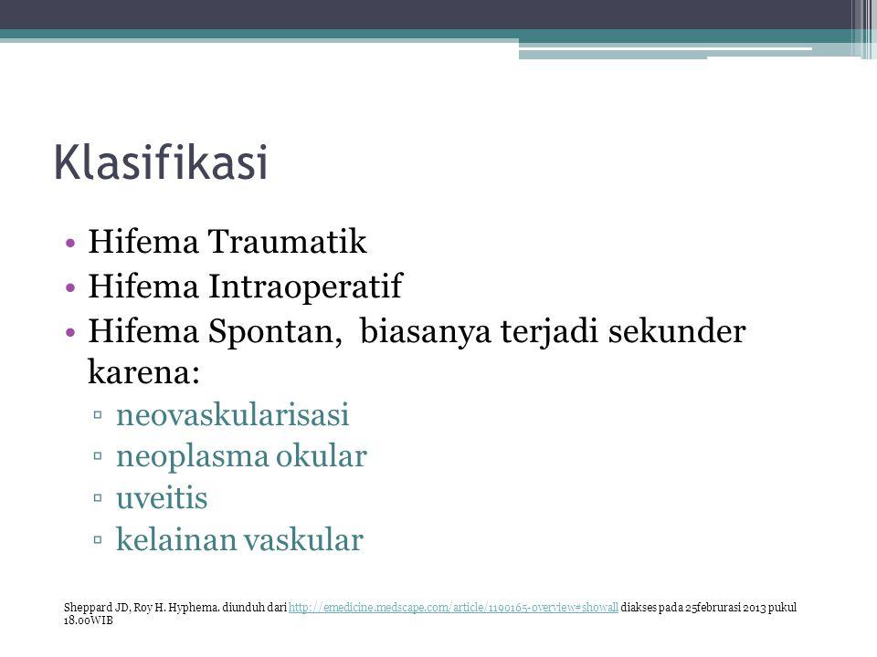 Klasifikasi Hifema Traumatik Hifema Intraoperatif Hifema Spontan, biasanya terjadi sekunder karena: ▫neovaskularisasi ▫neoplasma okular ▫uveitis ▫kela