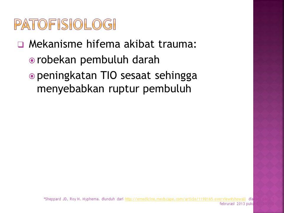  Mekanisme hifema akibat trauma:  robekan pembuluh darah  peningkatan TIO sesaat sehingga menyebabkan ruptur pembuluh 4 Sheppard JD, Roy H. Hyphema