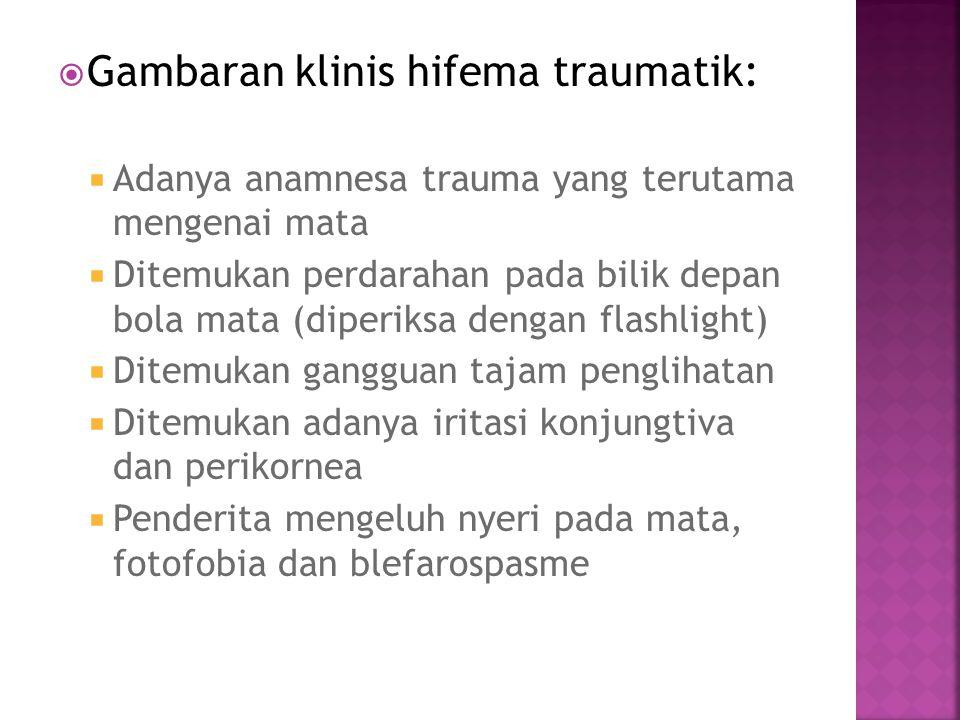  Gambaran klinis hifema traumatik:  Adanya anamnesa trauma yang terutama mengenai mata  Ditemukan perdarahan pada bilik depan bola mata (diperiksa
