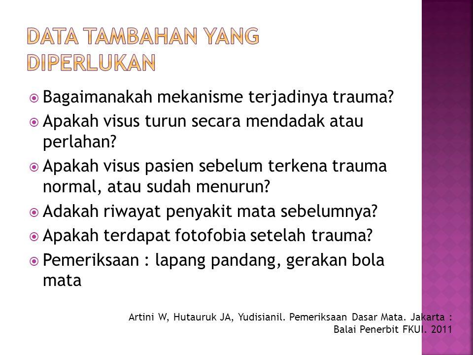  Bagaimanakah mekanisme terjadinya trauma?  Apakah visus turun secara mendadak atau perlahan?  Apakah visus pasien sebelum terkena trauma normal, a