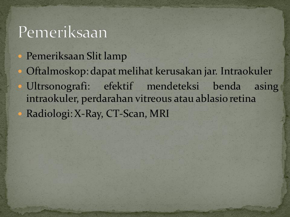 Pemeriksaan Slit lamp Oftalmoskop: dapat melihat kerusakan jar. Intraokuler Ultrsonografi: efektif mendeteksi benda asing intraokuler, perdarahan vitr