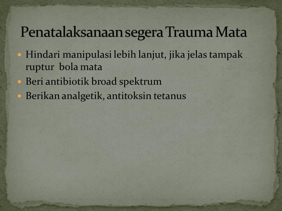 Benda asing pada kornea bisa akibat trauma minor (partikel kecil pada epitel kornea) atau trauma mayor (kail ) Merupakan kasus ke-2 terbanyak trauma pada mata Aktivitas beresiko tinggi: pemahat, pekerja bor, gerinda, tukang las