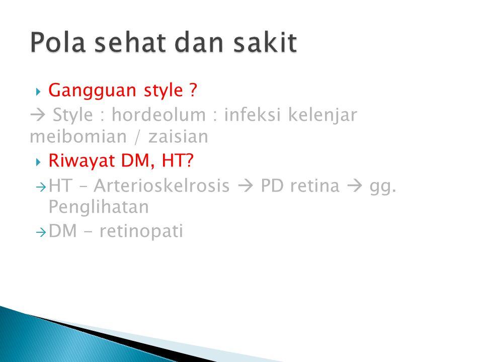  Gangguan style ?  Style : hordeolum : infeksi kelenjar meibomian / zaisian  Riwayat DM, HT?  HT – Arterioskelrosis  PD retina  gg. Penglihatan