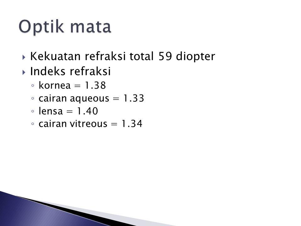  Kekuatan refraksi total 59 diopter  Indeks refraksi ◦ kornea = 1.38 ◦ cairan aqueous = 1.33 ◦ lensa = 1.40 ◦ cairan vitreous = 1.34
