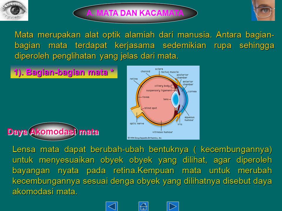 Mata merupakan alat optik alamiah dari manusia.