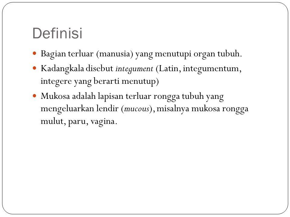 Definisi Bagian terluar (manusia) yang menutupi organ tubuh. Kadangkala disebut integument (Latin, integumentum, integere yang berarti menutup) Mukosa