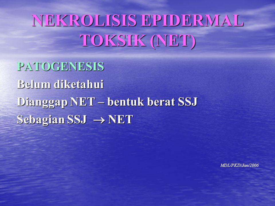 PATOGENESIS Belum diketahui Dianggap NET – bentuk berat SSJ Sebagian SSJ  NET MDL/PKD/Jan/2006 NEKROLISIS EPIDERMAL TOKSIK (NET)