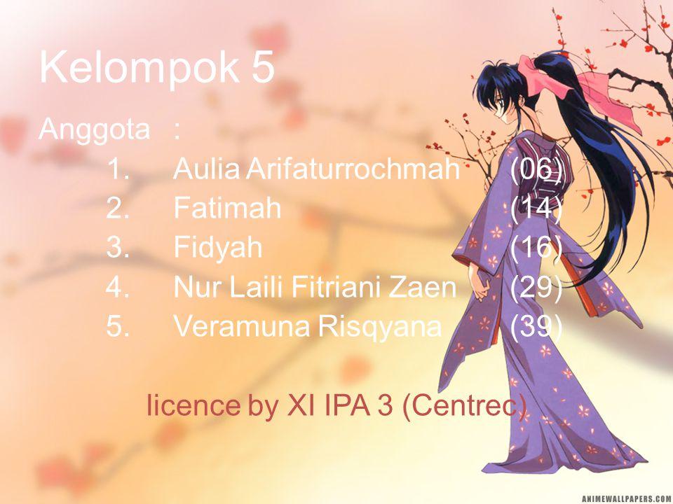 Kelompok 5 Anggota: 1.Aulia Arifaturrochmah(06) 2.Fatimah(14) 3.Fidyah(16) 4.Nur Laili Fitriani Zaen(29) 5.Veramuna Risqyana(39) licence by XI IPA 3 (