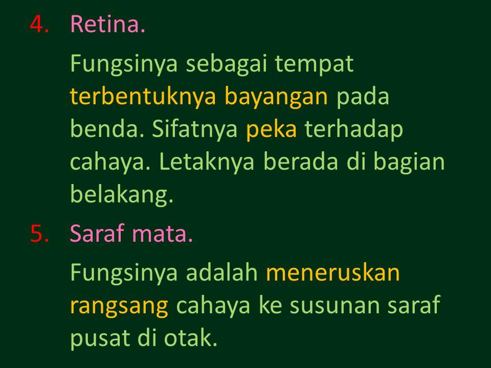 4.Retina.Fungsinya sebagai tempat terbentuknya bayangan pada benda.
