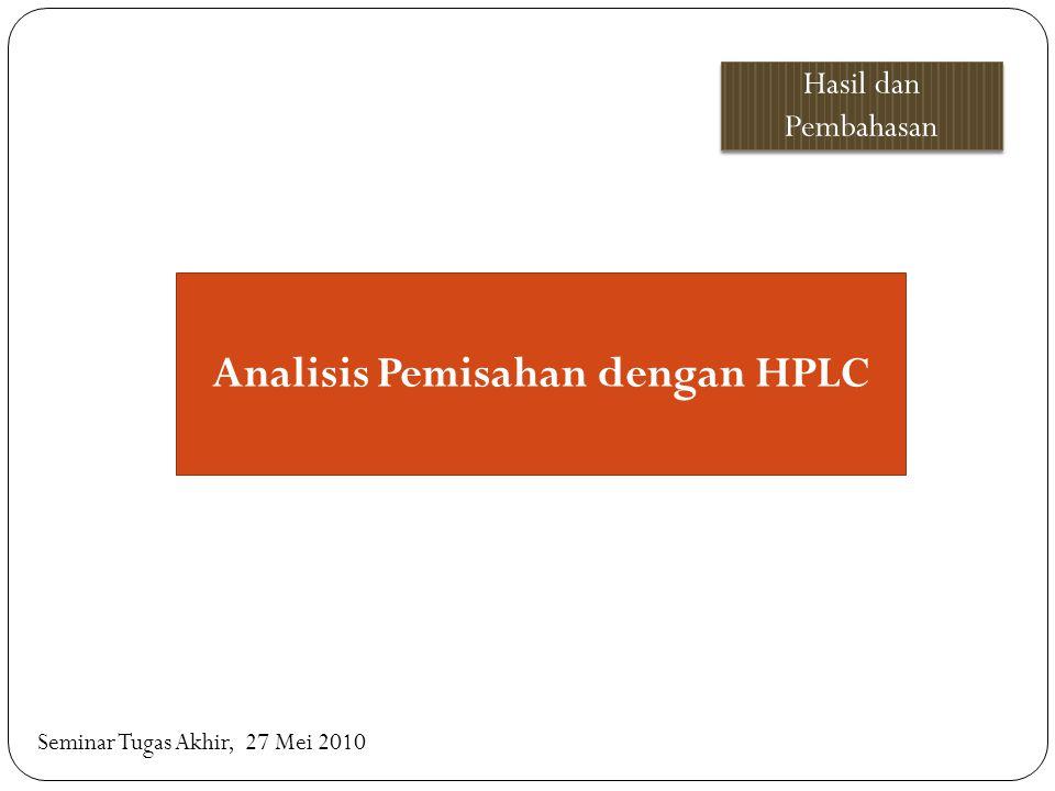 Analisis Pemisahan dengan HPLC Hasil dan Pembahasan Seminar Tugas Akhir, 27 Mei 2010