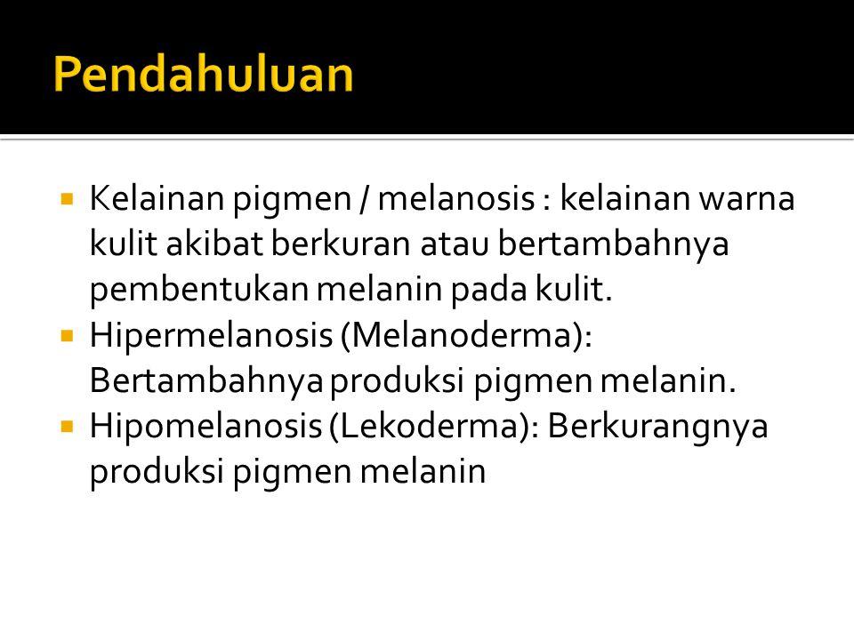  Kelainan pigmen / melanosis : kelainan warna kulit akibat berkuran atau bertambahnya pembentukan melanin pada kulit.  Hipermelanosis (Melanoderma):